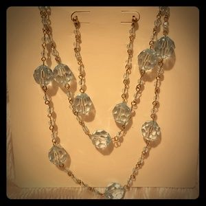 Light blue earrings and necklace set